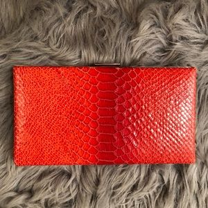 BANANA REPUBLIC Red Snakeskin Party Clutch Bag